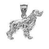 Sterling Silver Cocker Spaniel Pendant Necklace