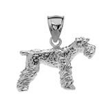 White Gold Lakeland Terrier Pendant Necklace