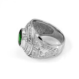 Solid White Gold US Marine Corps Men's CZ Birthstone Ring