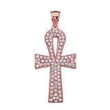 1 Carat Cubic Zirconia Rose Gold Ankh Cross Pendant Necklace