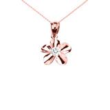 Rose Gold Hawaiian Plumeria Cubic Zirconia Elegant Pendant