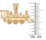 Yellow Gold Steam Train Pendant Necklace