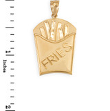 Yellow Gold French Fries Pendant Necklace