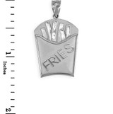 White Gold French Fries Pendant Necklace