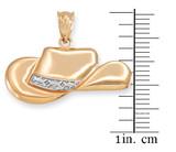Yellow Gold Cowboy Hat Pendant Necklace