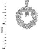 Sterling Silver Christmas Wreath Pendant Necklace