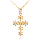 Yellow Gold Cross Of Flowers Pendant Necklace