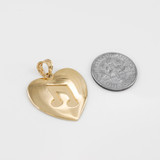 Yellow Gold Heart Music Note Pendant Necklace