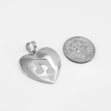 White Gold Heart Music Note Pendant Necklace