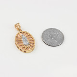 Gold Three-Tone Virgin Mary Guadalupe Pendant Necklace