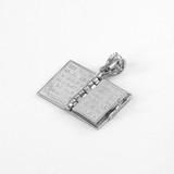 White Gold 3D English Bible Pendant Necklace