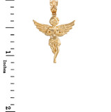 Yellow Gold Textured Praying Angel Pendant Necklace