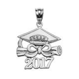 White Gold Class of 2017 Graduation Cap Pendant Necklace with Diamond