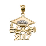 Yellow Gold Class of 2017 Graduation Cap Pendant Necklace with Diamond