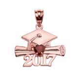 Rose Gold Heart January Birthstone Garnet CZ Class of 2017 Graduation Pendant Necklace