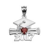 White Gold Heart January Birthstone Garnet CZ Class of 2017 Graduation Pendant Necklace