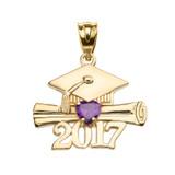 Yellow Gold Heart February Birthstone Amethyst CZ Class of 2017 Graduation Pendant Necklace