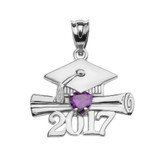 Sterling Silver Heart February Birthstone Amethyst CZ Class of 2017 Graduation Pendant Necklace