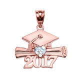 Rose Gold Heart March Birthstone Aqua CZ Class of 2017 Graduation Pendant Necklace