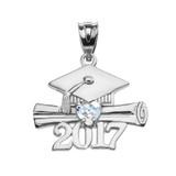 White Gold Heart March Birthstone Aqua CZ Class of 2017 Graduation Pendant Necklace