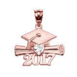 Rose Gold Heart April Birthstone White CZ Class of 2017 Graduation Pendant Necklace