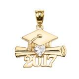 Yellow Gold Heart April Birthstone White CZ Class of 2017 Graduation Pendant Necklace