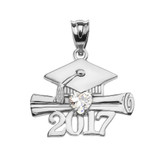 Sterling Silver Heart April Birthstone White CZ Class of 2017 Graduation Pendant Necklace