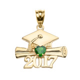 Yellow Gold Heart May Birthstone Green CZ Class of 2017 Graduation Pendant Necklace