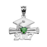Sterling Silver Heart May Birthstone Green CZ Class of 2017 Graduation Pendant Necklace