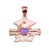 Rose Gold Heart June Birthstone Alexandrite CZ Class of 2017 Graduation Pendant Necklace