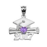 Sterling Silver Heart June Birthstone Alexandrite CZ Class of 2017 Graduation Pendant Necklace