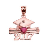 Rose Gold Heart July Birthstone Red CZ Class of 2017 Graduation Pendant Necklace