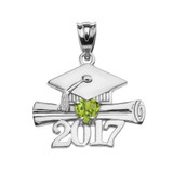 Sterling Silver Heart August Birthstone Light Green CZ Class of 2017 Graduation Pendant Necklace