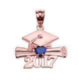 Rose Gold Heart September Birthstone Blue CZ Class of 2017 Graduation Pendant Necklace