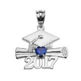 White Gold Heart September Birthstone Blue CZ Class of 2017 Graduation Pendant Necklace