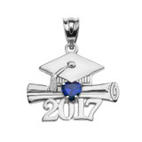 Sterling Silver Heart September Birthstone Blue CZ Class of 2017 Graduation Pendant Necklace