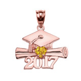 Rose Gold Heart November Birthstone Yellow CZ Class of 2017 Graduation Pendant Necklace