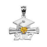 White Gold Heart November Birthstone Yellow CZ Class of 2017 Graduation Pendant Necklace