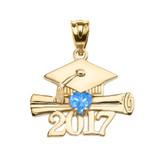 Yellow Gold Heart December Birthstone Light Blue Class of 2017 Graduation Pendant Necklace