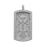"Armenian Cross ""Khachkar"" Diamond White Gold Dog Tag Pendant Necklace"