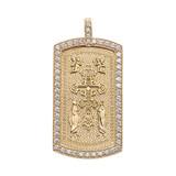Eastern Orthodox Cross Diamond Yellow Gold Dog Tag Pendant Necklace
