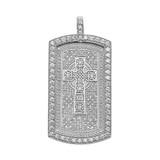 Celtic Cross Trinity Knot  Diamond White Gold Dog Tag Pendant Necklace