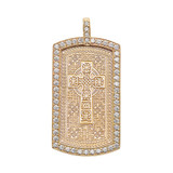 Celtic Cross Trinity Knot  Diamond Yellow Gold Dog Tag Pendant Necklace