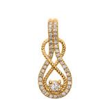14k Rope Infinity Diamond Yellow Gold Pendant Necklace
