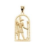 Yellow Gold Egyptian Anubis Pendant Necklace