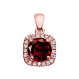 Halo Diamond and Genuine Garnet Dainty Rose Gold Pendant Necklace