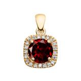 Halo Diamond and Genuine Garnet Dainty Yellow Gold Pendant Necklace