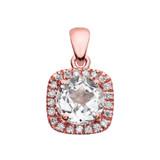 Halo Diamond and White Topaz Dainty Rose Gold Pendant Necklace