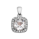 Halo Diamond and White Topaz Dainty White Gold Pendant Necklace