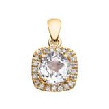 Halo Diamond and White Topaz Dainty Yellow Gold Pendant Necklace